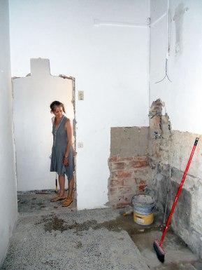 Kitchen looking toward bathroom