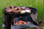 Barbecuing in El Salvador with onions and sausage