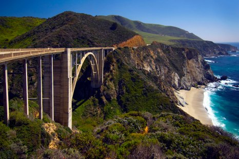 Bridge On Highway 1 Along The Pacific Ocean Near Big Sur