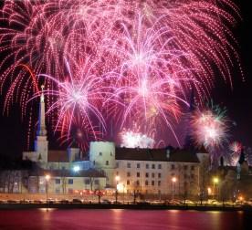 Fireworks over Riga, Latvia