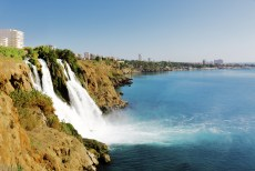 Waterfall on a cliff in Turkish Riviera