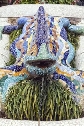 Antoni Gaudi mosaic in park guell, Barcelona - Spain