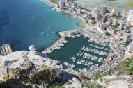 High angle view of the marina in Calpe, Alicante, Spain
