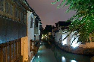 night view of canal in old Suzhou, China