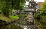 Reflection of Wooden Bridges on Canals in Giethoorn