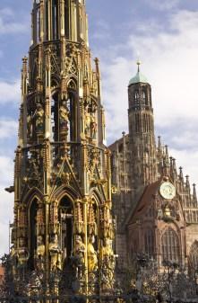Frauenkirche and Schoenenbruenen in Nuremberg, Germany
