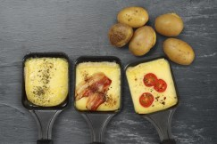 Raclette trays and potatoes