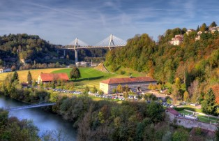 View of Poya bridge, Fribourg, Switzerland, HDR