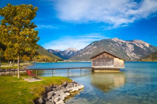 Boathouse at lake Achensee in Austria