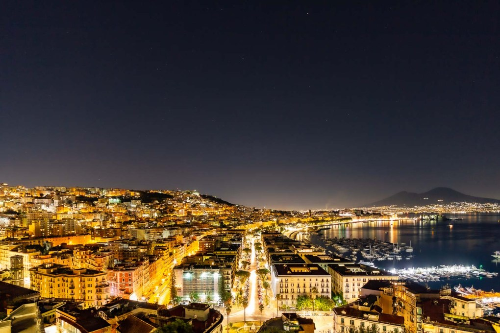The beautiful view of Naples from the panoramic terrazza