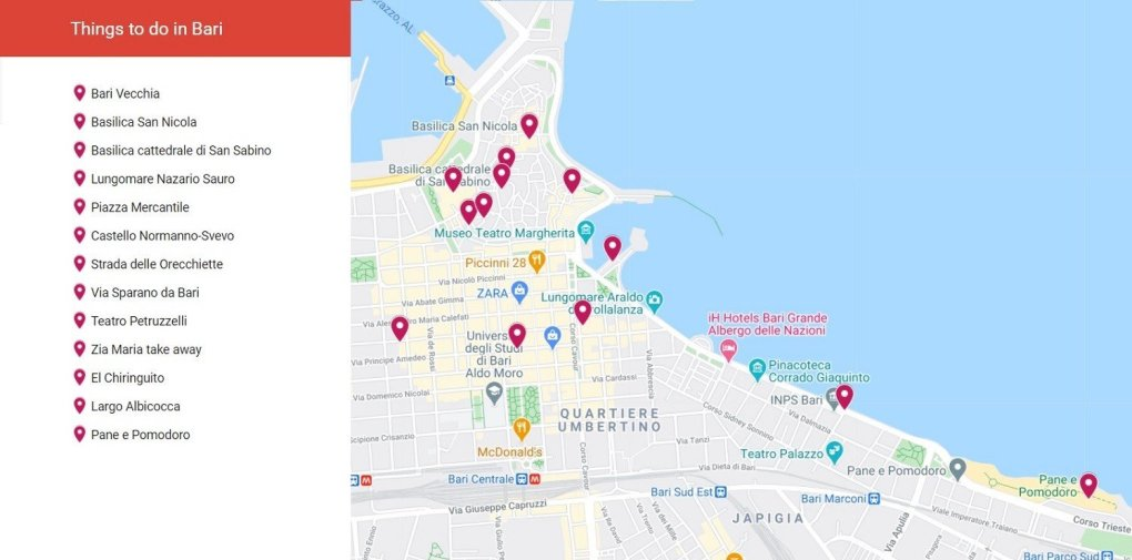 Bari Things to do Map