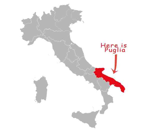 Puglia province highlighted red on Italy map vector. Gray background.
