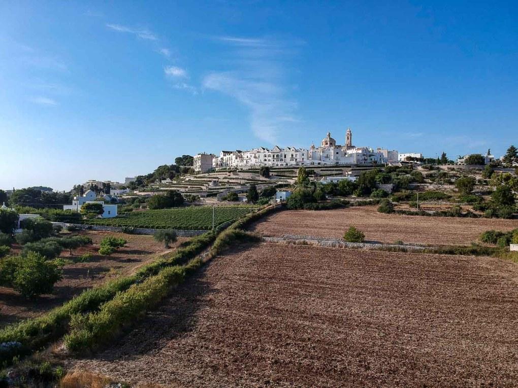 The landscape view of Locorotondo the white town of Puglia