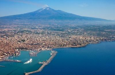 Mount Etna behind Catania