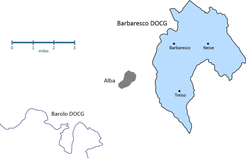 Barbaresco map with Alba and Barolo