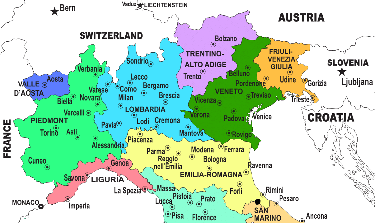 Map Of Italy And Austria With Cities.Regions Of Northern Italy Italian Wine Central