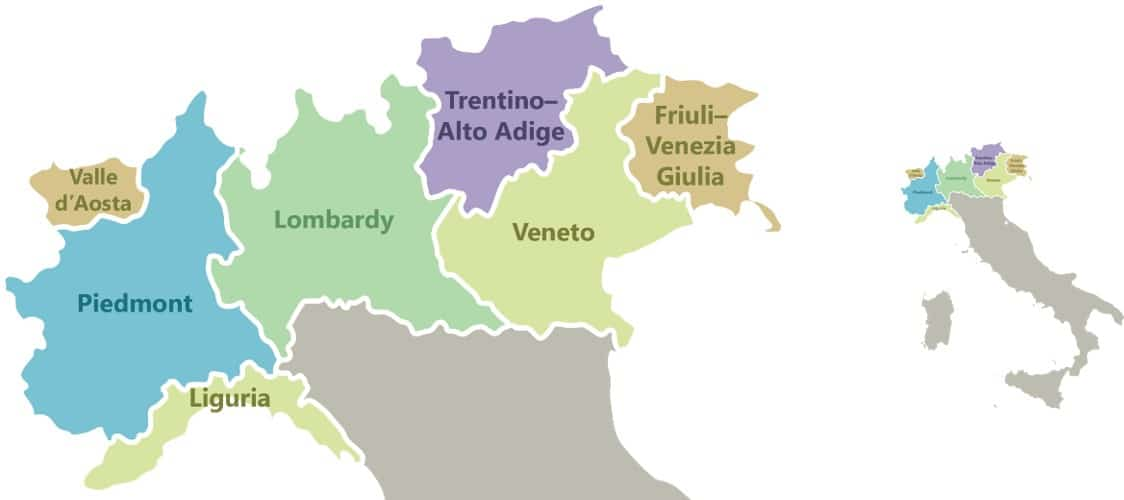 Map Of Provinces In Italy.Regions Of Northern Italy Italian Wine Central