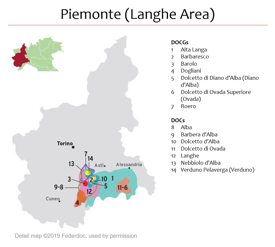 Map Of Piemonte Dops Langhe Area Italian Wine Central