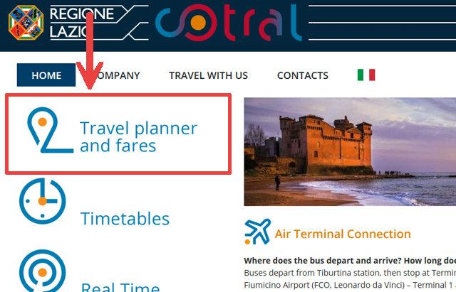 Cotral社のホームページ