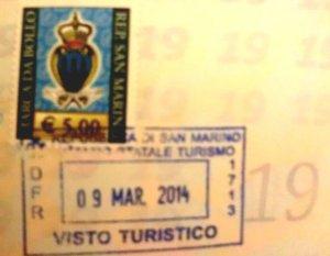 サン・マリノの入国スタンプ