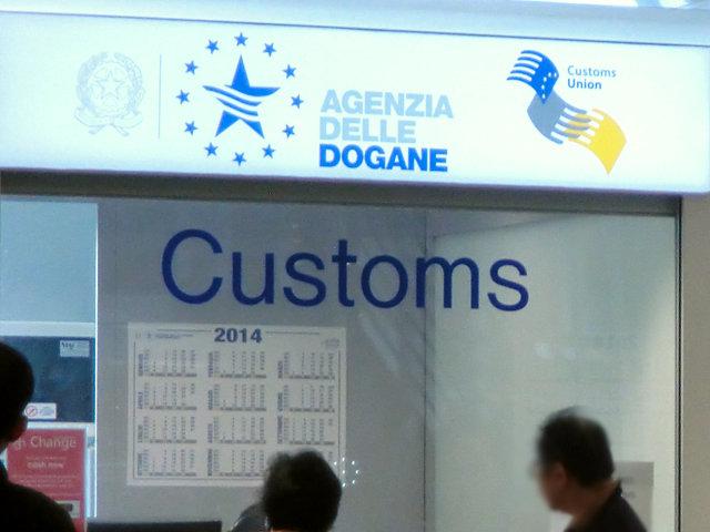 フィレンツェの税関カウンター