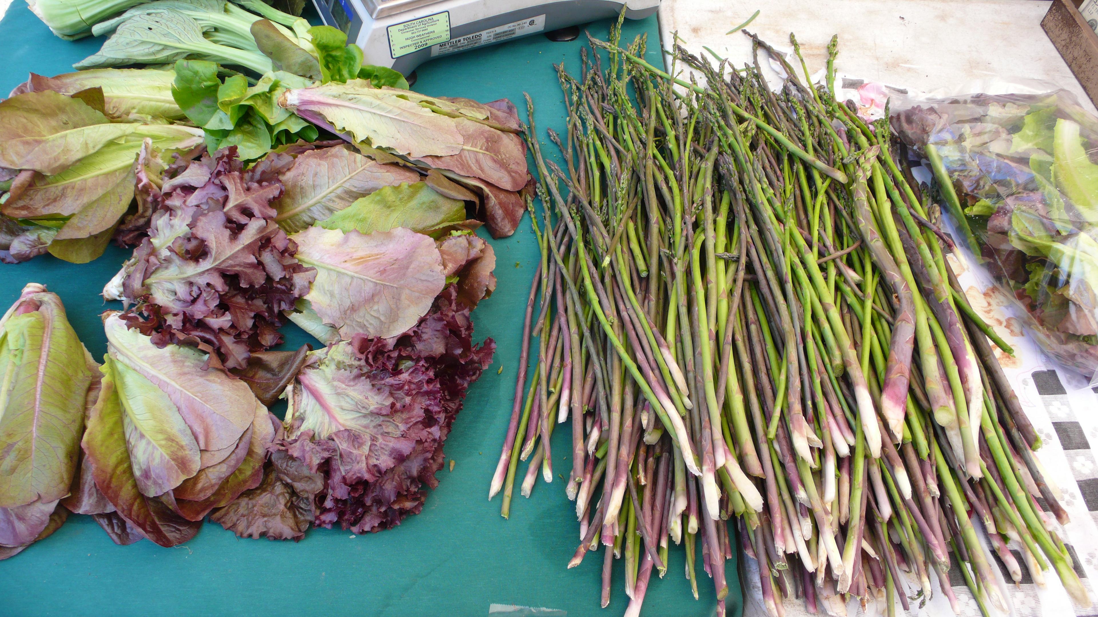 asparagus and lettuce