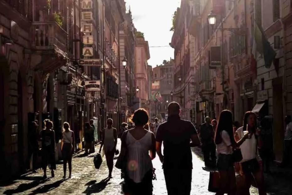 Festive street in Naples, Italy
