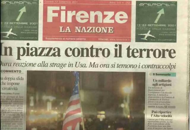 La Nazione Headline on September 13, 2001
