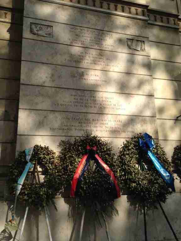 Memorial to the six million Jews who died in the Holocaust on the exterior of the Great Synagogue of Rome