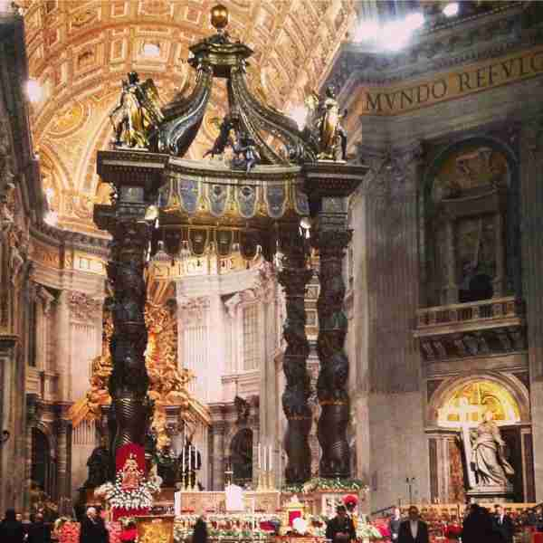 Bernini's baldacchino in St. Peter's on Christmas Eve