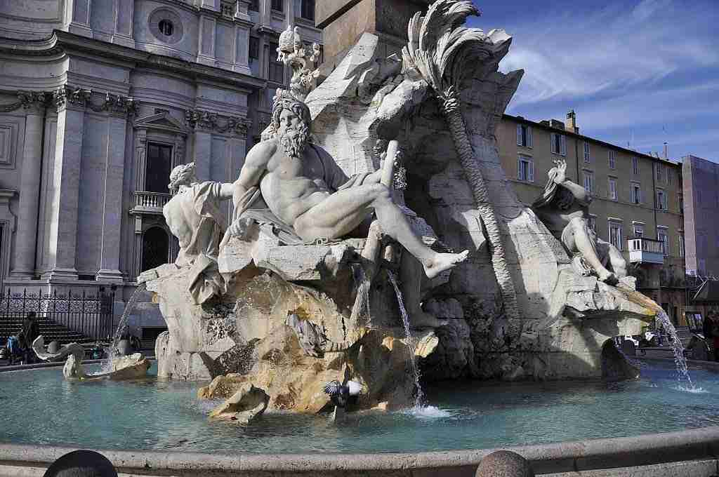 Fountain of the Four Rivers in Piazza Navona, Rome