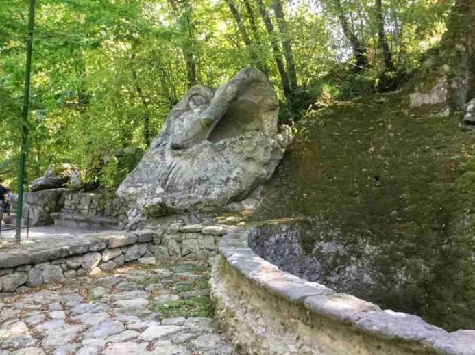 Whale head sculpture in Bomarzo's Parco dei Mostri