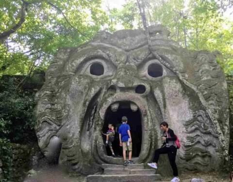 Monster grotto in Bomarzo's Parco dei Mostri