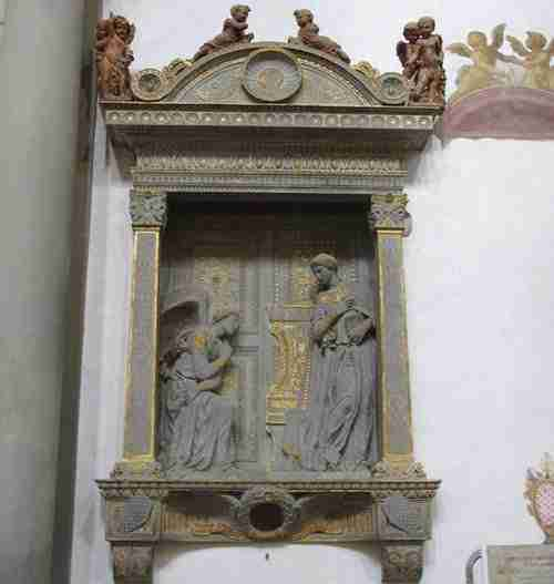 Donatello's Annunciation in Santa Croce Florence Italy