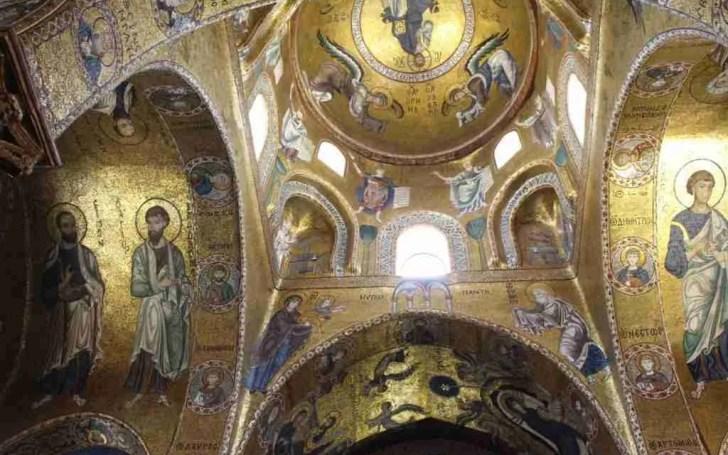 Golden mosaics in La Martorana, Palermo