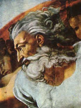 Image of God's Face painted by Michelangelo, Sistine Chapel Ceiling Fresco of Creation
