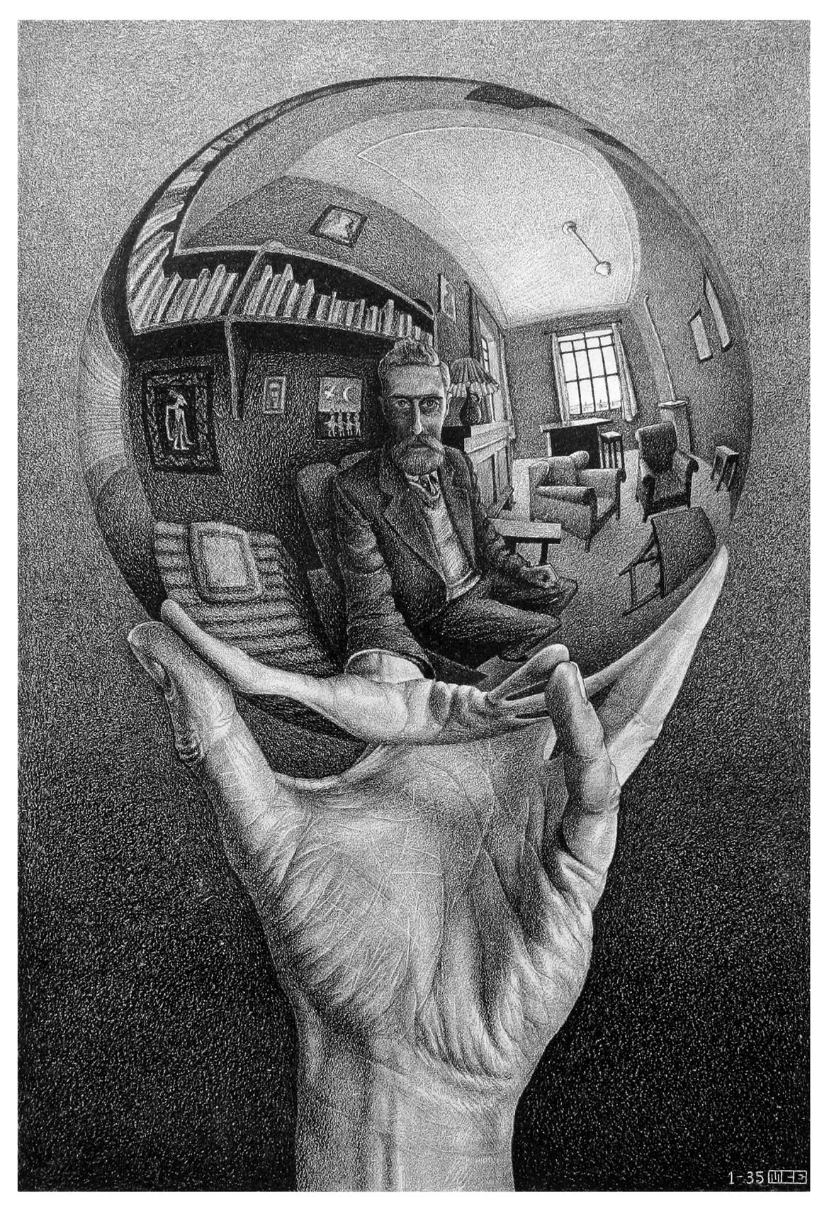 Maurits Cornelis Escher, Mano con sfera riflettente, 1935, Fondazione M.C. Escher