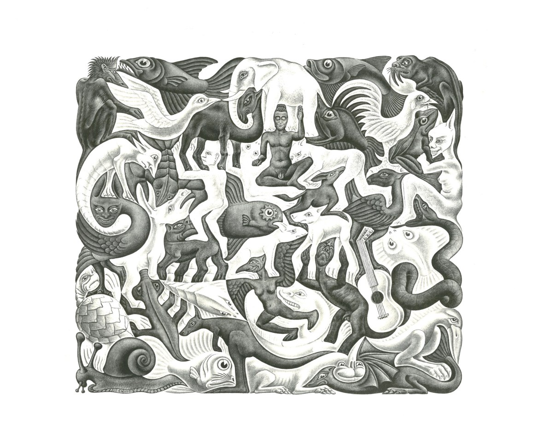Maurits Cornelis Escher,Mosaico II (Plane Filling II),1957,Collezione Federico Giudiceandrea