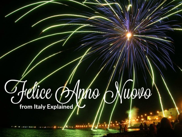 Happy New Year    2016 Italy Calendar     Italy Explained Fireworks in Manfredonia    creative commons photo by Salvatore Triventi   modified by Jessica Spiegel