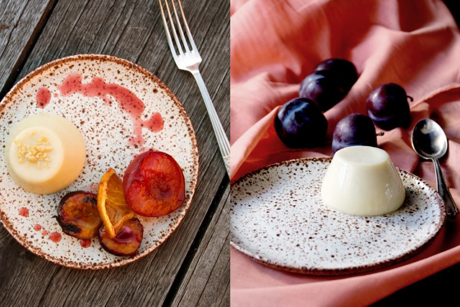 white chocolate pannacotta and roasted plums - itay on my mind
