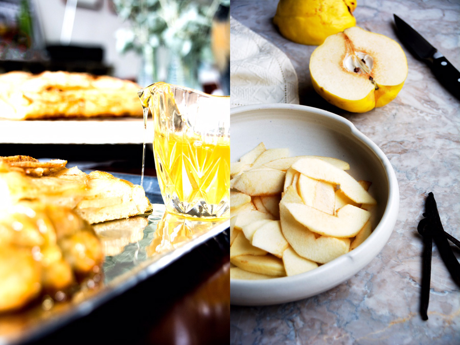 pouring honey on quince schiacciata-italy on my mind