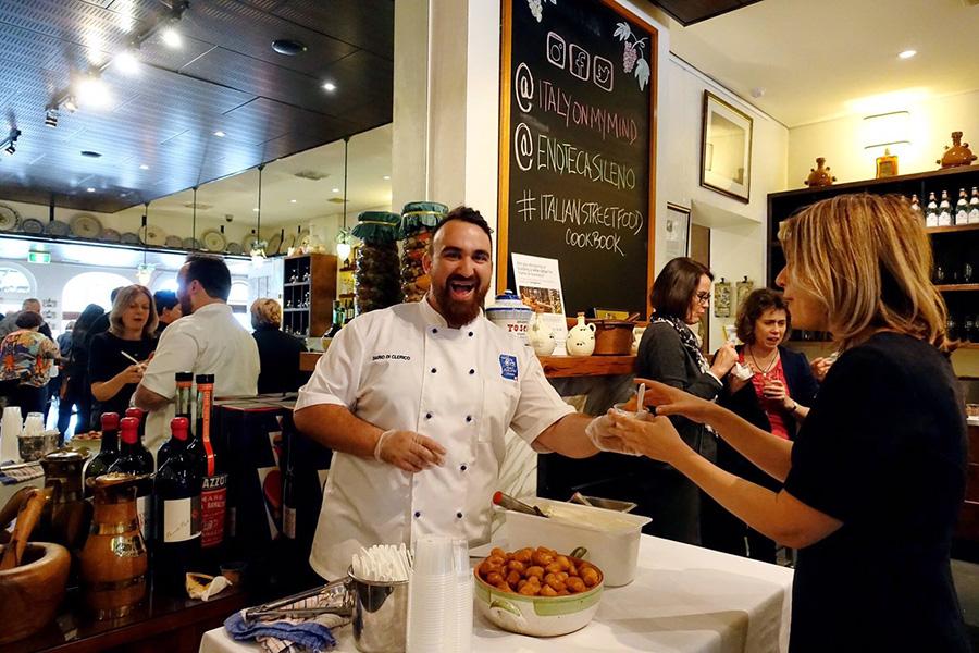 dario-arrosticino stick on grill-italian street food book launch-italy on my mind-enoteca sileno