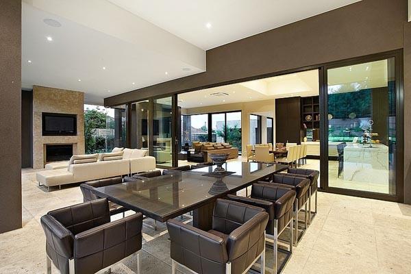 Borell-Street-Residence soggiorno travertino noce pavimenti