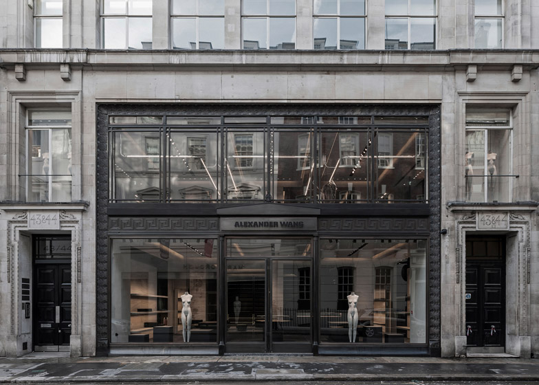 boutique londra alexander wang travertino interni