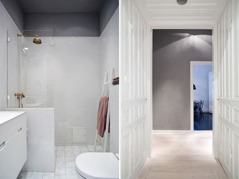 bagno con pavimenti in marmo appartamento a stoccolma