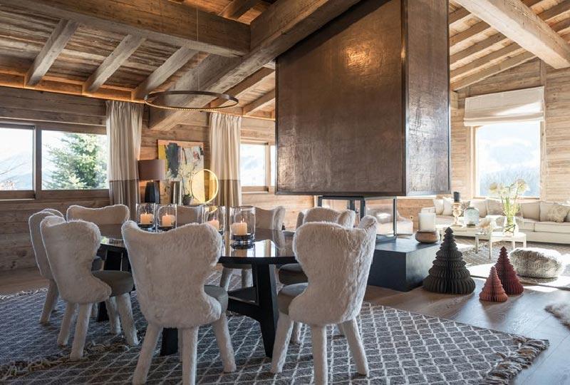 chalet luxor soggiorno con vista sulle alpi francesi
