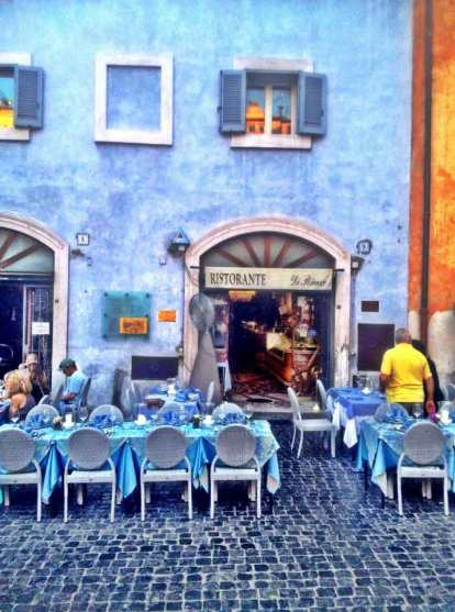A blue-themed restaurant just in front of the Pantheon in Rome.