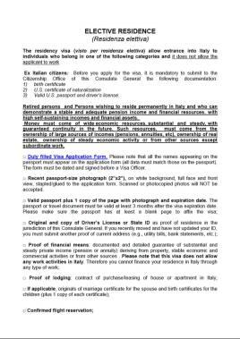 Italian Elective Residency Visa