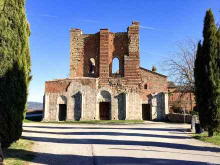 La visione scarna dell'Abbazia di San Galgano dall'esterno, al termine del viale alberato