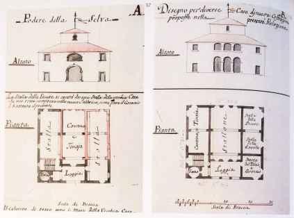 Pianta di casa colonica ad opera dell'architetto Della Porta costruita durante l'epoca leopoldina